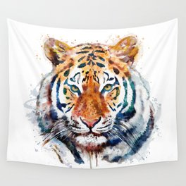 Tiger Head watercolor Wall Tapestry
