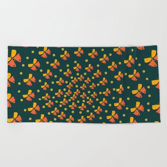 Butterflies in spiral Beach Towel