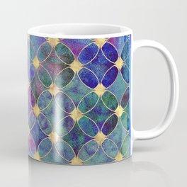 Informe Abstracta Golden Rings Aqua Green Abstract Circle Pattern  Coffee Mug