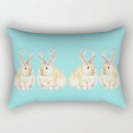 Watercolor Grumpy Jackalope Antler Bunny Rectangular Pillow
