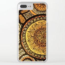 Sunburst Mandala Collage Clear iPhone Case