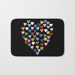 Hearts Heart Black Bath Mat