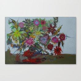 Red Vase Floral Canvas Print