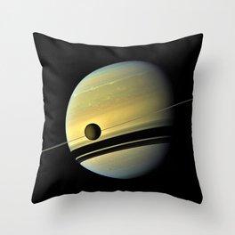 Saturn and its Moon Titan in Orbit Telescopic Photograph Throw Pillow