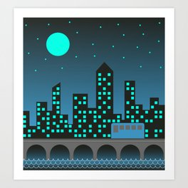 Blue City Nights Art Print