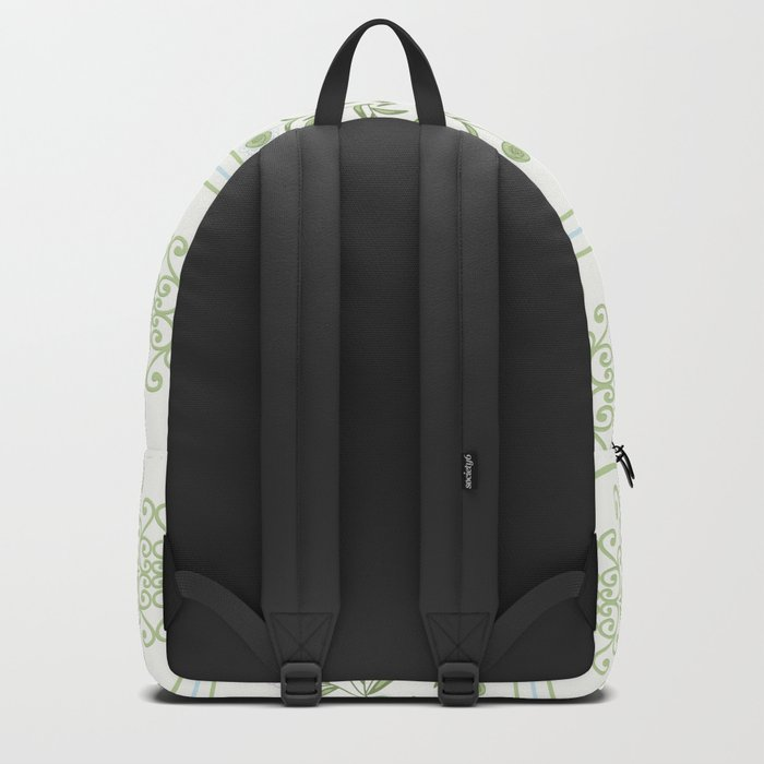 Delicate floral pattern with decorative bands. Backpack