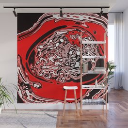 Red Black White Abstract Wall Mural
