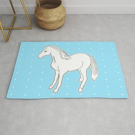 White Horse with Light Blue & Polka Dots Rug