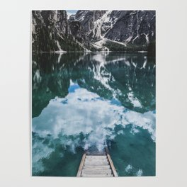 A staircase leading to the water in an mountain lake in the Dolomites Poster
