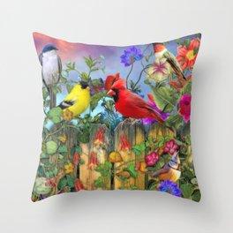 Birds and Blooms Throw Pillow