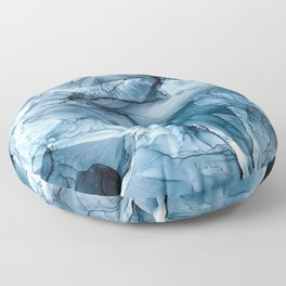 Churning Blue Ocean Waves Abstract Painting Floor Pillow