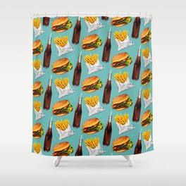 Cheeseburger Fries & Soda Pattern Shower Curtain