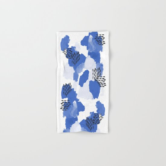 Painted blue abstract monochromatic minimal modern art painting dorm college gender neutral design Hand & Bath Towel