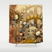 steampunk Shower Curtains featuring steampunk by Ancello