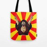 satan Tote Bags featuring Mr Satan by husavendaczek