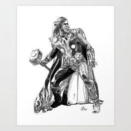 Thor (hand-drawn) Art Print