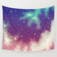 8bit Wall Tapestries featuring Rainbow Nebula (8bit) by Sarajea