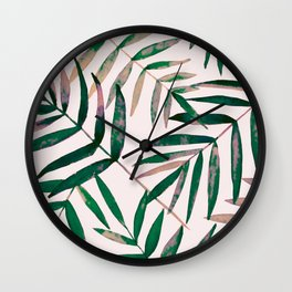 Blush palm leaves Wall Clock