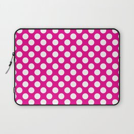 White Polka Dots with Pink Background Laptop Sleeve
