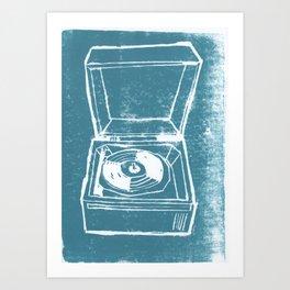 Record Player Lino Art Print