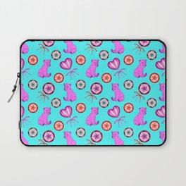 Little pink baby bear cubs, sweet vintage retro lollipops. Cute girly blue winter pattern design Laptop Sleeve