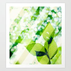 Leaves / Diagonal Stripes Art Print