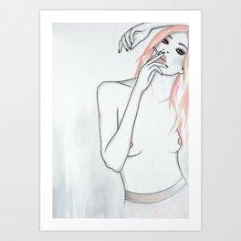 Smoking Music Blonde Art Print
