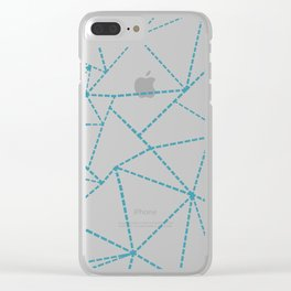 Ab Dotted Lines Blue on Pink Clear iPhone Case