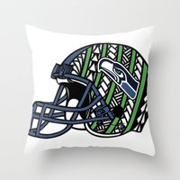 seahawks Throw Pillows featuring Polynesian Style Seahawks by Lonica Photography & Poly Designs