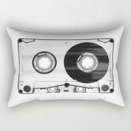 1980's Retro Black-White Vintage 80's Cassette Eighties Technology Art Print Home Decor Wall Decor Rectangular Pillow