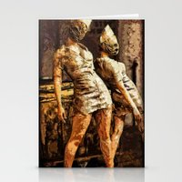 silent hill Stationery Cards featuring Deadly Duo Silent Hill Nurses by Joe Misrasi