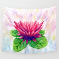 lotus flower Wall Tapestries featuring Lotus by Lala