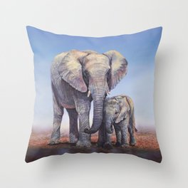 Elephants Mom Baby Throw Pillow