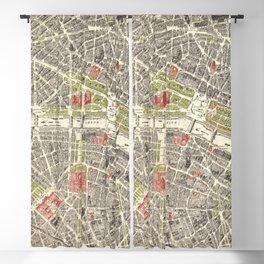 Paris, France City Map Vintage Poster, Eiffel Tower, Notre-Dame, Champs-Elysees, Arc de Triomphe, Latin Quarter Blackout Curtain