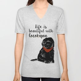 Black Cockapoo Dog Unisex V-Neck