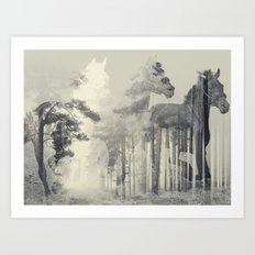 Like a Horse in the woods Art Print