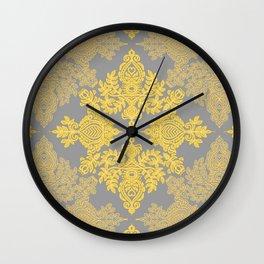 Golden Folk - doodle pattern in yellow & grey Wall Clock