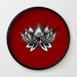 LOTUS FLOWER RED Wall Clock