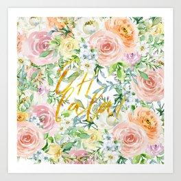 "Oh la la "" Fashionable Watercollor Floral Pattern Art Print"