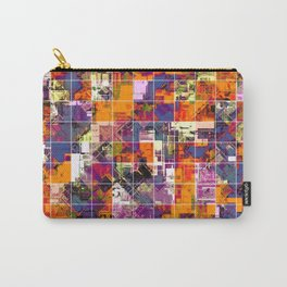 psychedelic geometric square pattern painting abstract background in orange blue pink red Carry-All Pouch