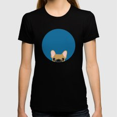 French Bulldog Black Womens Fitted Tee SMALL