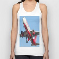 airplanes Tank Tops featuring Air Berlin Airbus A330-223 Take-off Miami airplanes USA D-ALPJ by Yan David