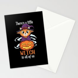 There Little Witch in All Of Us Cute Cat Halloween Stationery Cards