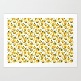 Blooming flowers and juicy citrus fruits with slices Art Print