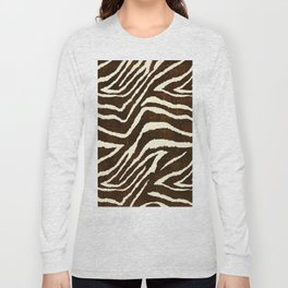 ANIMAL PRINT ZEBRA IN WINTER 2 BROWN AND BEIGE Long Sleeve T-shirt