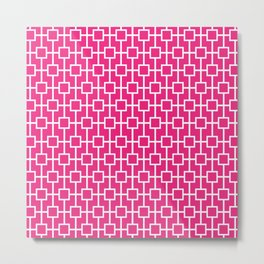 Rose Pink Lattice Pattern Metal Print