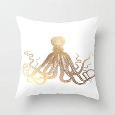 Gold Octopus  Throw Pillow