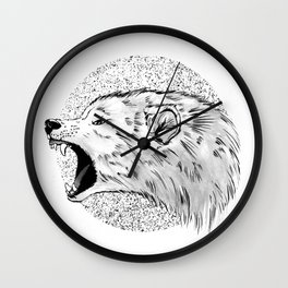 The screaming wolf Wall Clock