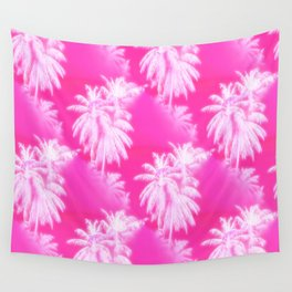 Palm Trees Tropical Beach Pattern Hot Pink Wall Tapestry