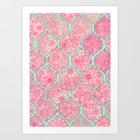 moroccan Art Prints featuring Moroccan Floral Lattice Arrangement in Pinks by micklyn